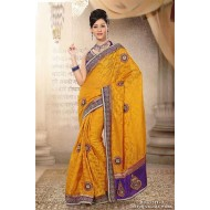 Yellow Viscos Net Embroidered Saree with Blouse