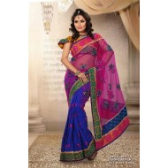 Blue Manipuri Silk Embroidered Saree with Blouse
