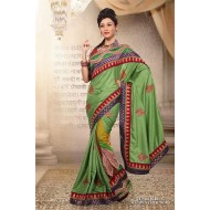 Green Manipuri Silk Embroidered Saree with Blouse