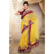 Yellow Jute Silk Embroidered Saree with Blouse