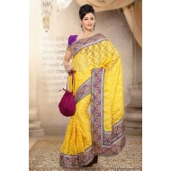 Yellow Net Embroidered Saree with Blouse