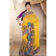 Yellow Pure Chiffon Embroidered Saree with Blouse