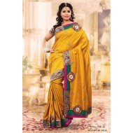 Yellow Manipuri Silk Embroidered Saree with Blouse