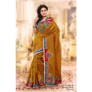Yellow Ocher Bhagalpuri Silk Embroidered Saree wit