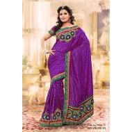 Purple Banarasi Jacquard Silk Embroidered Saree wi