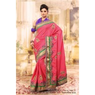 Peach Manipuri Silk Embroidered Saree with Blouse