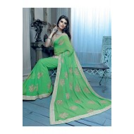 Party Wear Green Saree