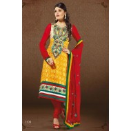 Designer Red,Yellow Georgette Salwar Suit