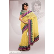 Yellow Polyester Embroidered Saree with Blouse