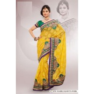 Yellow Marble Chiffon Jacquard Embroidered Saree w