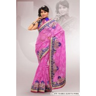 Pink Marble Chiffon Jacquard Embroidered Saree wit