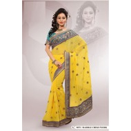 Yellow Marble Chiffon Embroidered Saree with Blou