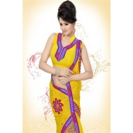 Chiffon Printed Work Saree With Blouse.