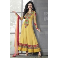 Stylish Yellow Georgette,Jacquard Anarkali Dress