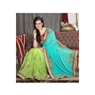 Party Wear Cyan,Lime Embroidered Saree