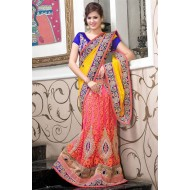 Party Wear Yellow,Pink Embroidered Saree