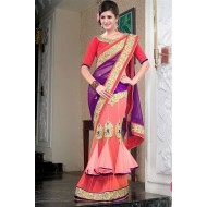 Party Wear Purple,Pink Embroidered Saree