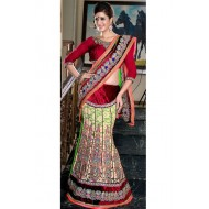 Party Wear Green,Maroon Embroidered Saree