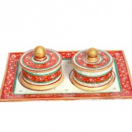 Marble minakari and beads twin dibbi set