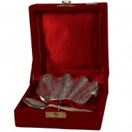 Chinar leaf shaped german silver serving plate