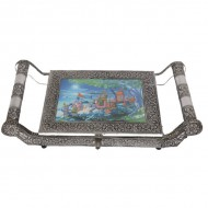 Oxidised rajathani artwork tray box