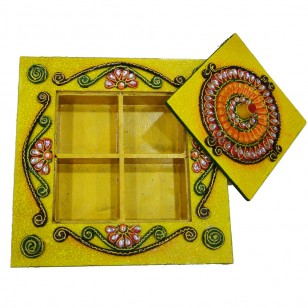 Four slot wooden kundan dryfruit box