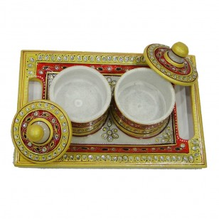 Decorated marble tray with two dibbi and handle